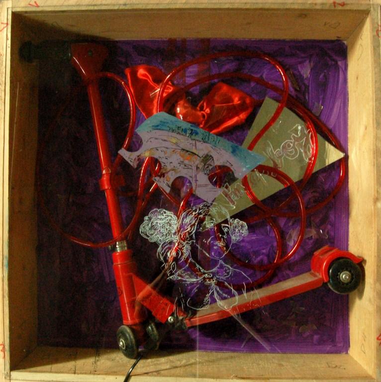 C1 tehnica mixta.obiect.becuri colorate 72x72 cm