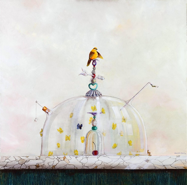2014 My secreat – oil on canvas – 90×90 Hamid Nicola Katrib